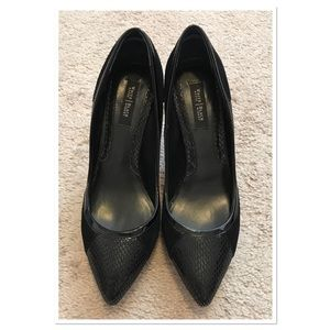 WHBM Black Half Leather Half Suede Pumps Size 6.5